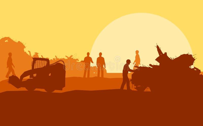 Silhouette des ouvriers sur le fond illustration libre de droits