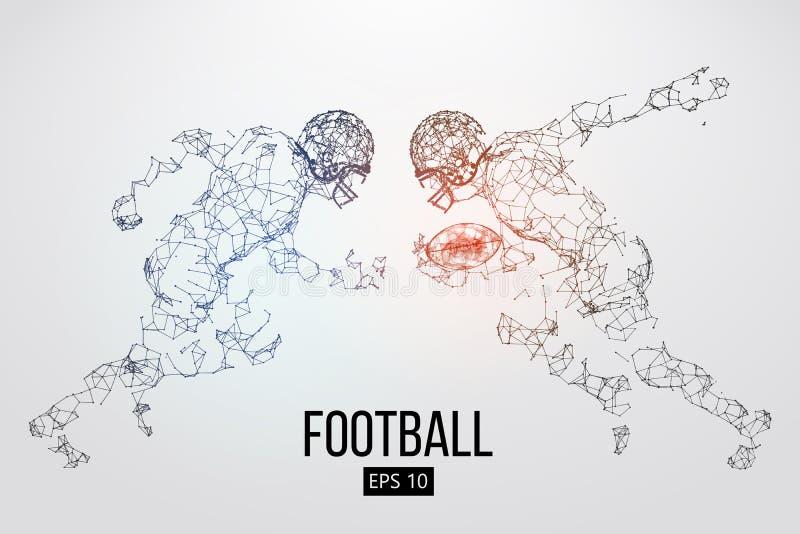 Silhouette des particules, des lignes et des triangles d'un joueur de football américain sur le fond rugby Illustration de vecteu illustration stock