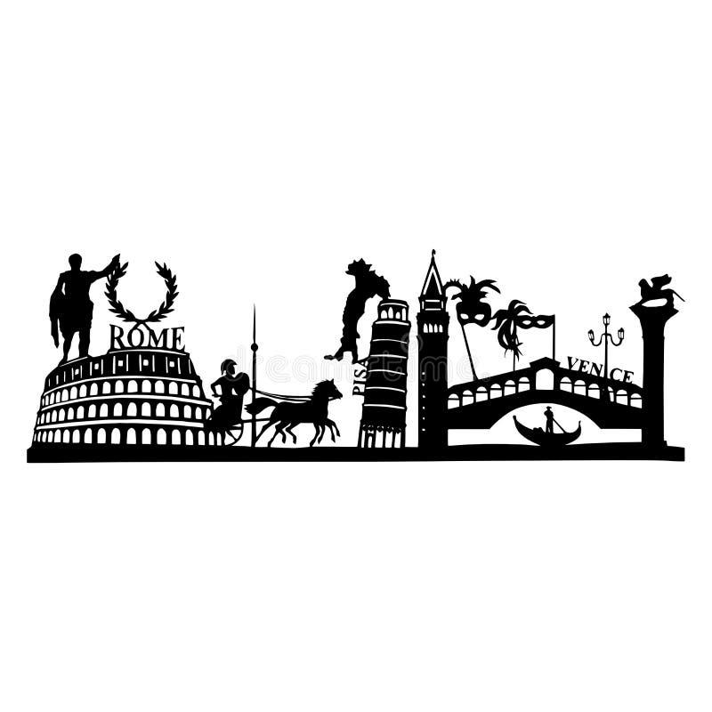 Silhouette des vues célèbres l'Italie - à Pise, à Venise et à Rome photographie stock libre de droits