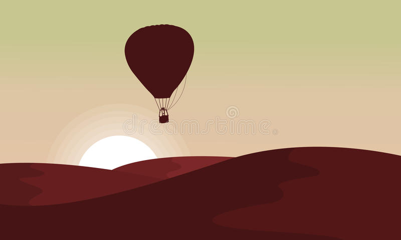 Silhouette of desert with air balloon in the sky. Vector vector illustration