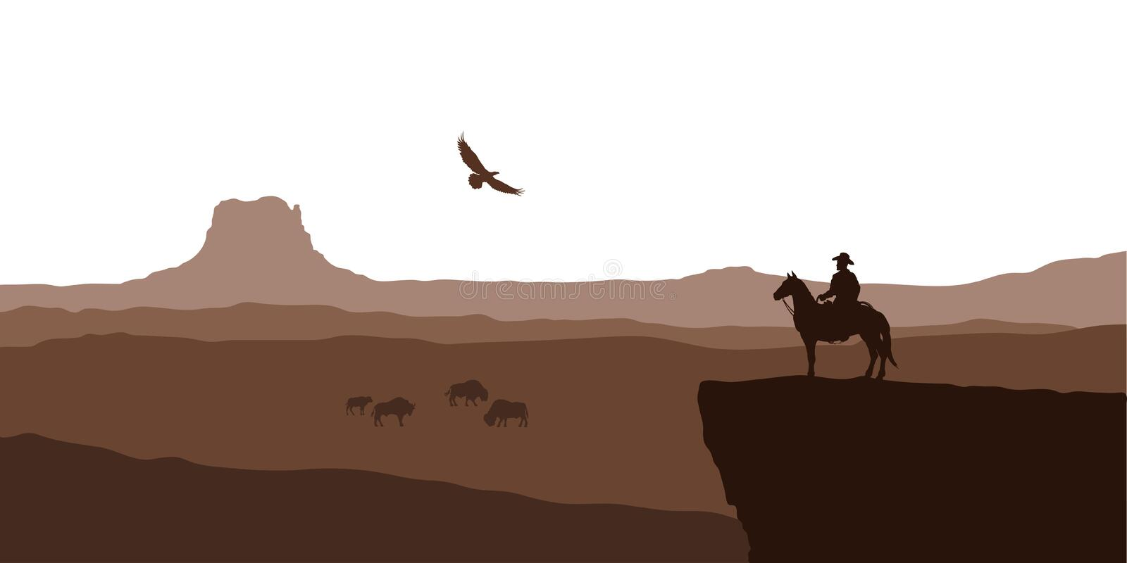Silhouette of desert with cowboy on horse. Natural panorama of canyon with mountains. American landscape. Western scene. Silhouette of desert with cowboy on stock illustration