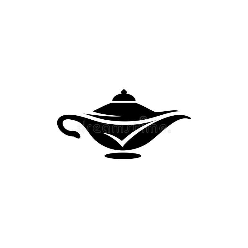 Magic Lamp Genie Icon Logo Template Stock Vector