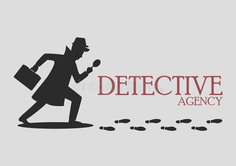 Silhouette of detective agency vector illustration