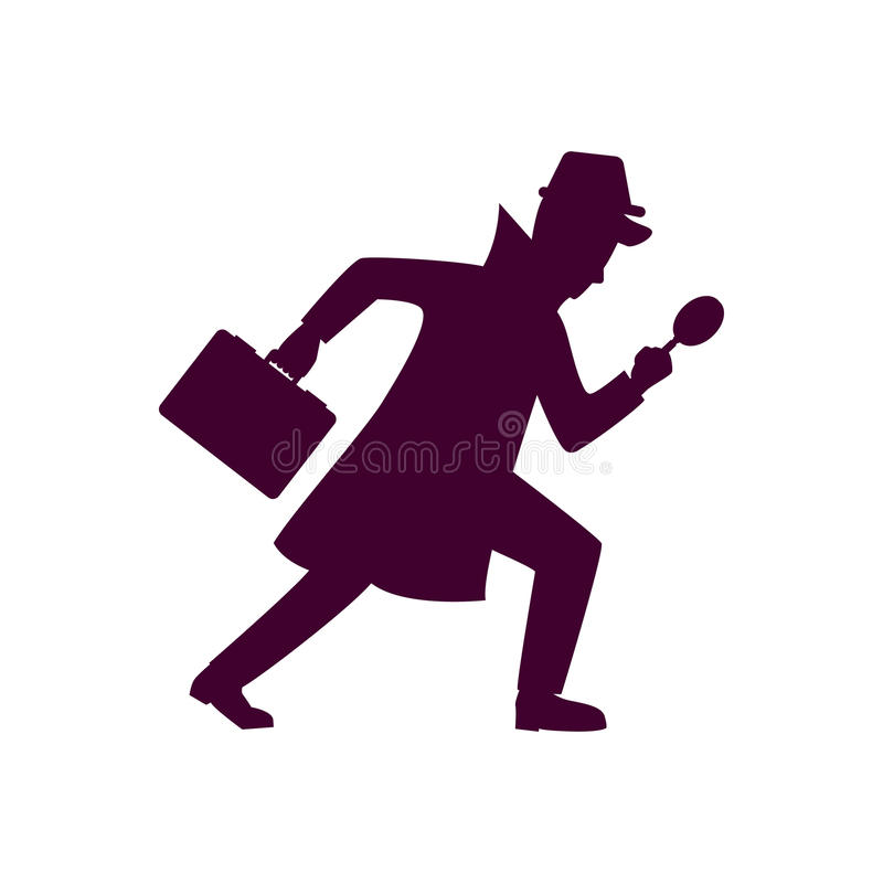 Silhouette of detective character design stock illustration