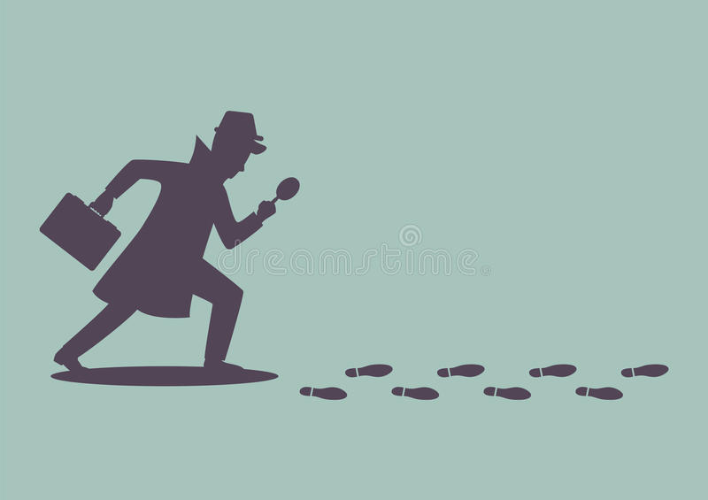Silhouette of detective investigate is following footprints royalty free illustration