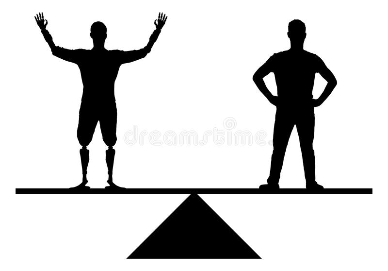 Silhouette Disabled people with prosthetic arms have equal rights with healthy people. The concept of equal rights for people with disabilities in society vector illustration