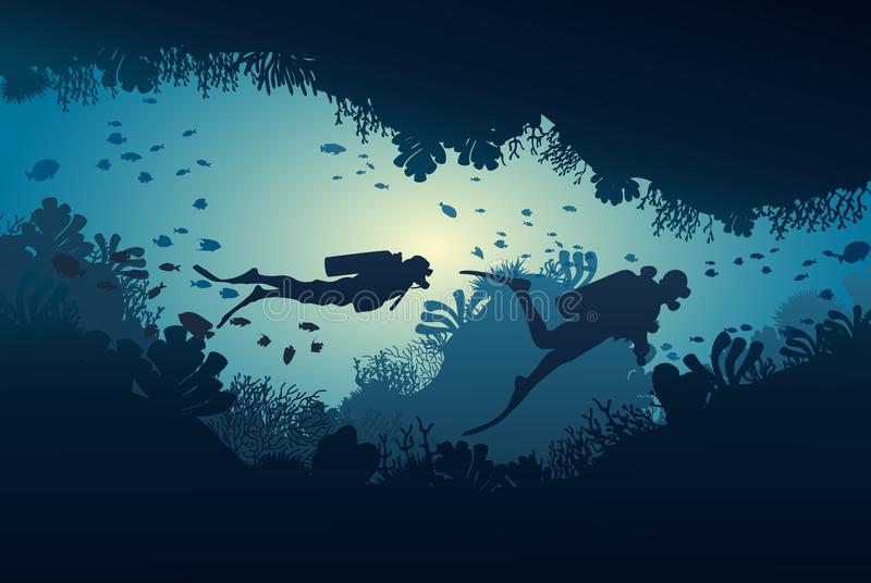 Silhouette of diver, coral reef and underwater. Cave on a blue sea background. illustration vector illustration