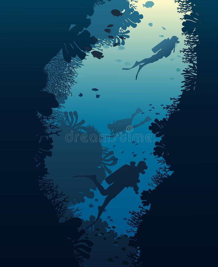 Silhouette of diver, coral reef and underwater. Cave on a blue sea background. illustration royalty free illustration