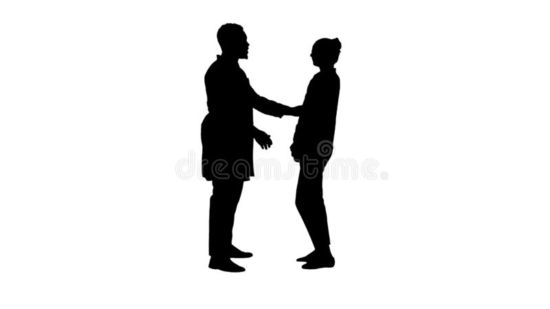 Silhouette Doctor telling good news to a patient. royalty free illustration
