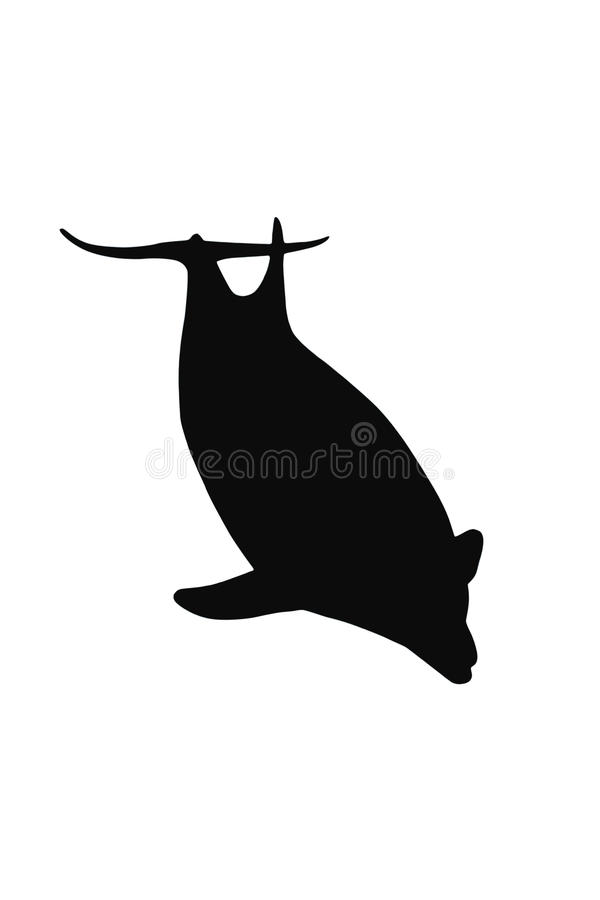 Silhouette of Dolphin stock illustration