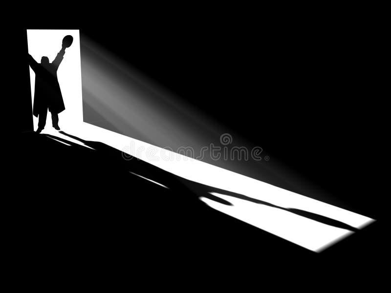Silhouette in doors vector illustration