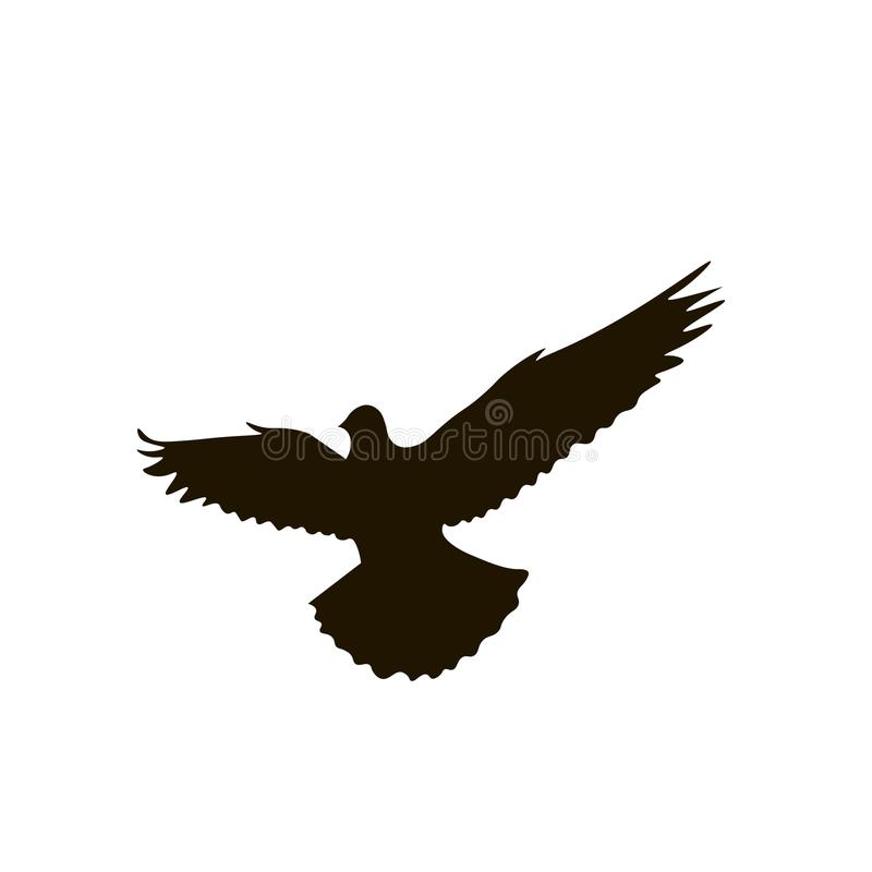 Silhouette of dove isolated on white background vector illustration