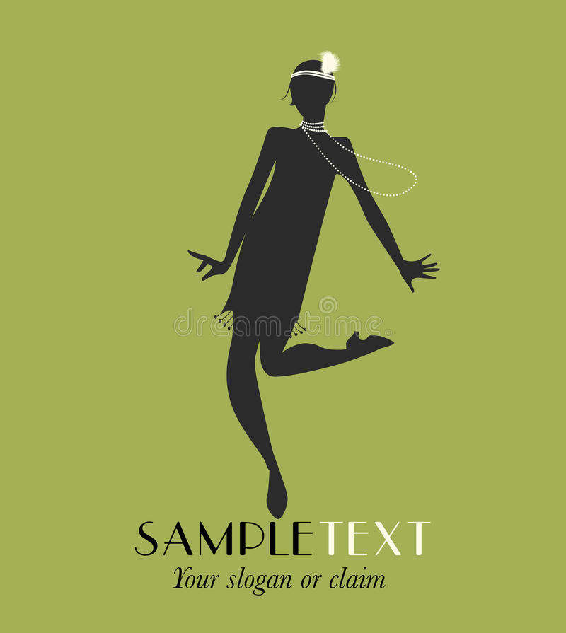 Silhouette drôle de fille dansant Charleston illustration stock