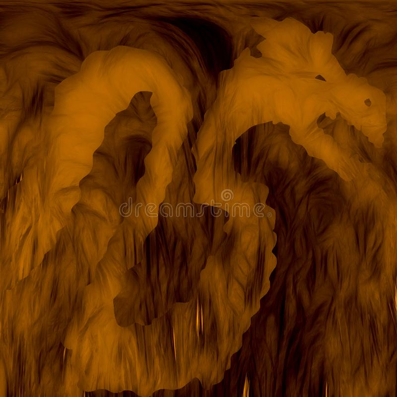 Silhouette of Dragon in smoky cave. stock image