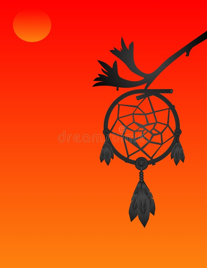 Silhouette of a dream catcher at sunset stock illustration