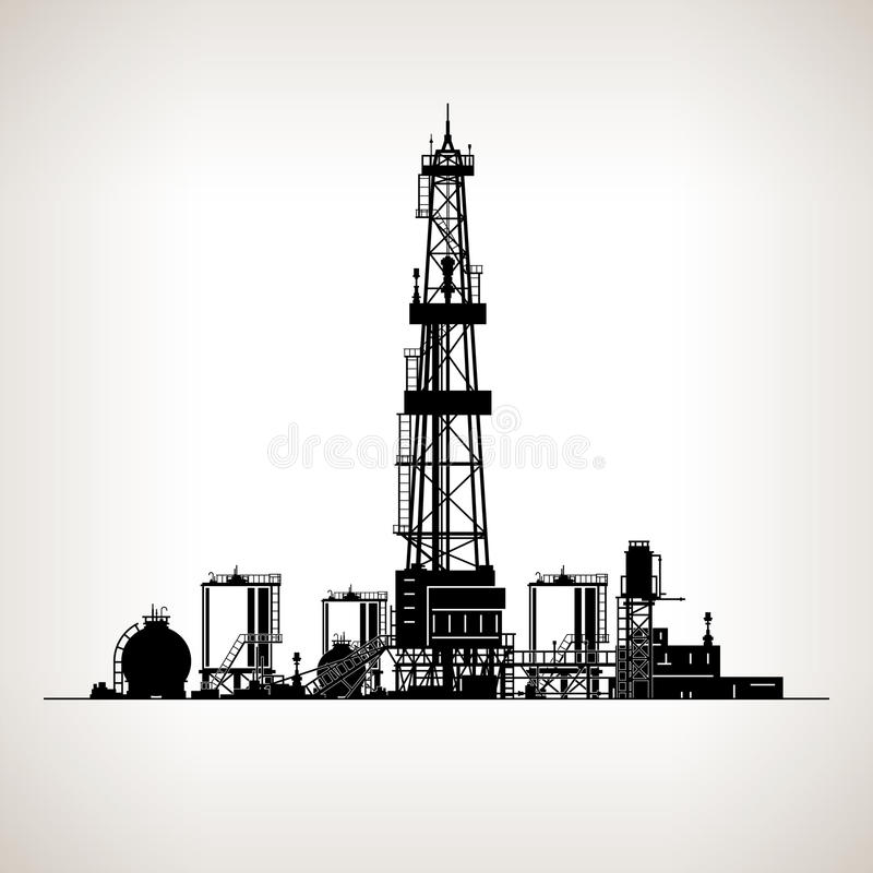 Silhouette Drilling Rig. Oil Rig, Machine which Creates Holes in the Earth,Oil Well Drilling, Vector Illustration stock illustration