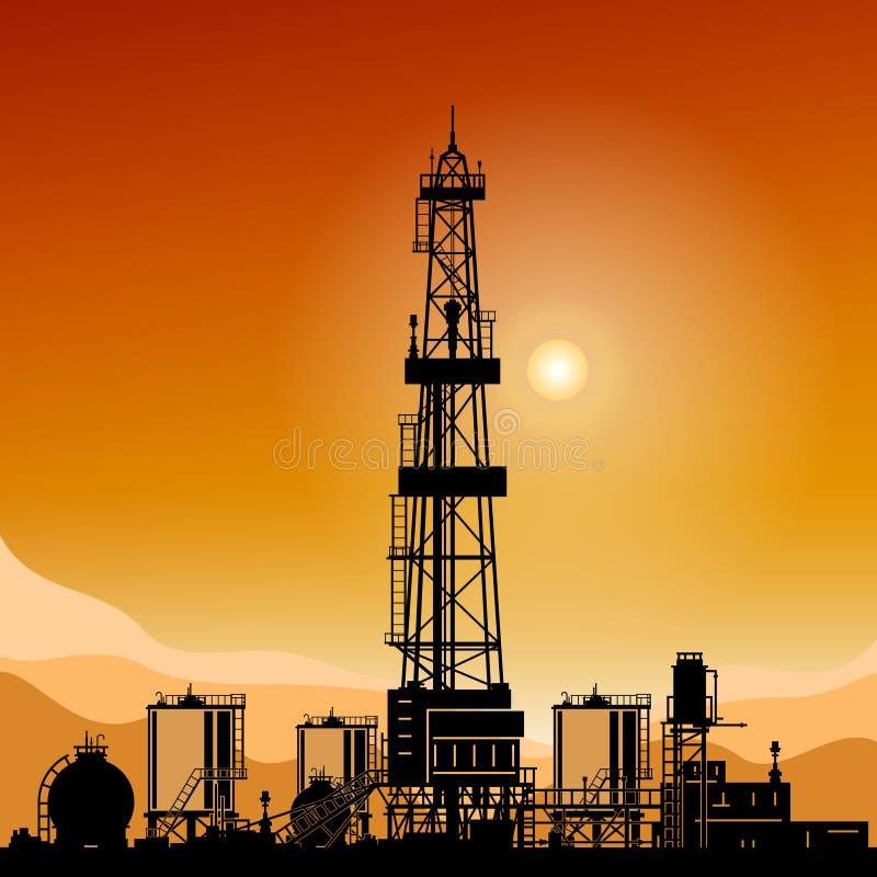 Silhouette Drilling Rigs vector illustration
