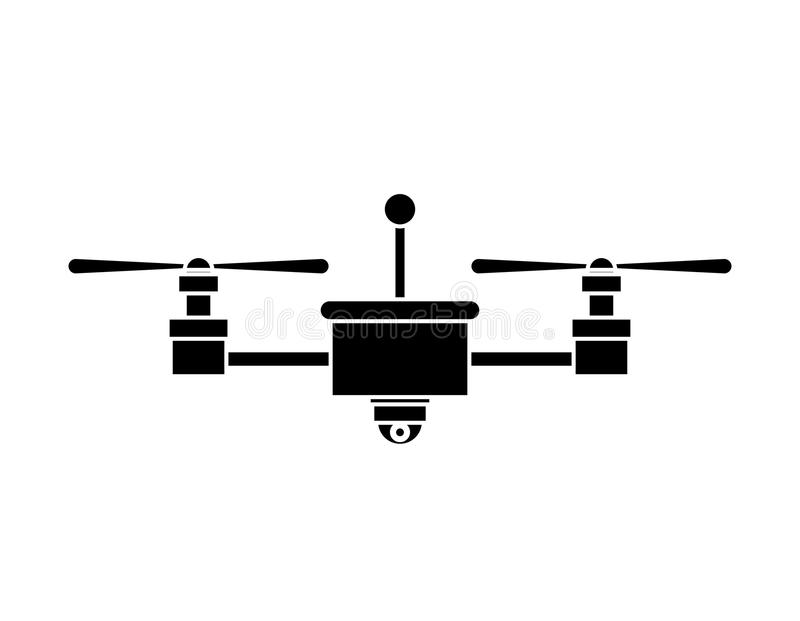 Silhouette drone with camera and two airscrew. Vector illustration royalty free illustration