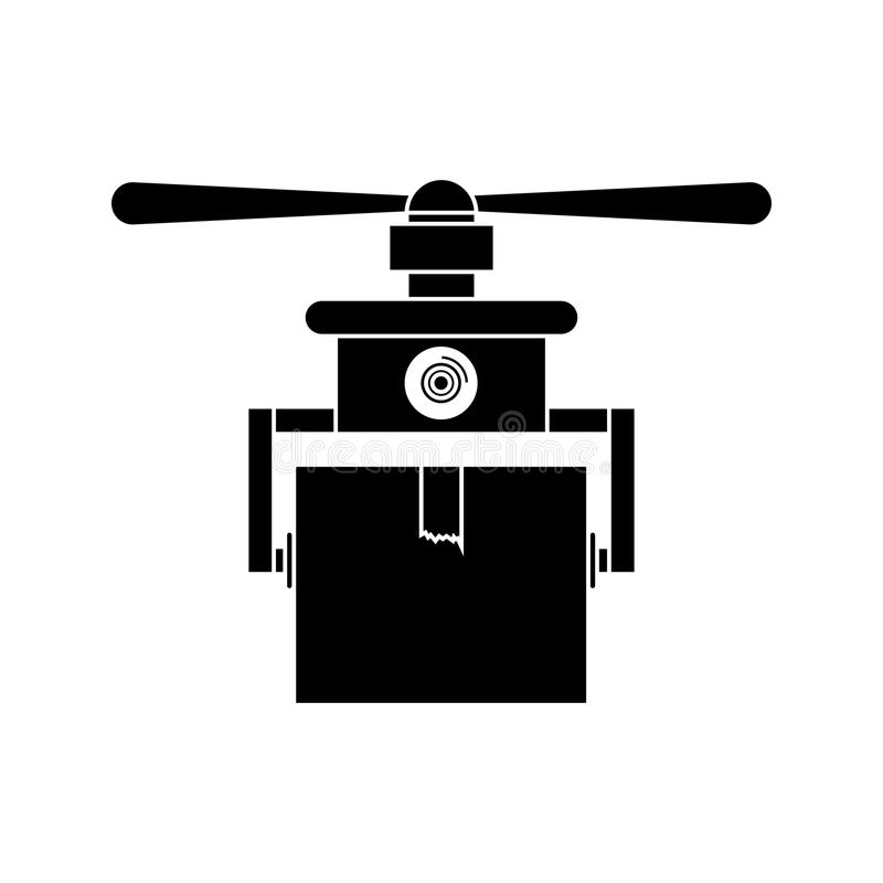 Silhouette drone carrying box with one airscrew. Vector illustration royalty free illustration