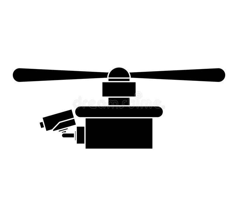 Silhouette drone with one airscrew. Vector illustration stock illustration