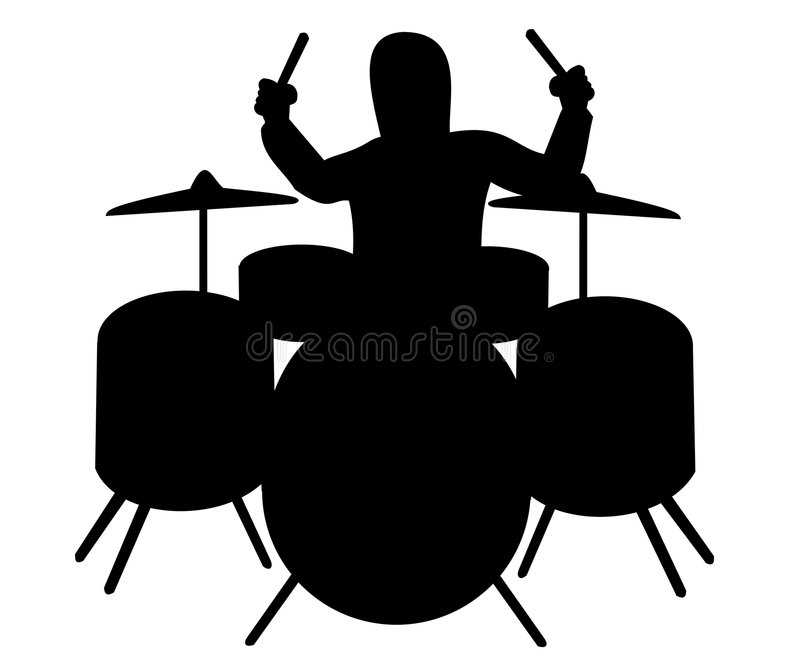 Silhouette of drummer stock image