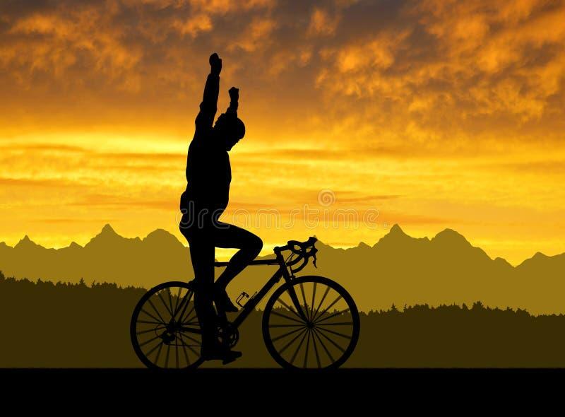 Silhouette du cycliste montant un vélo de route photo stock