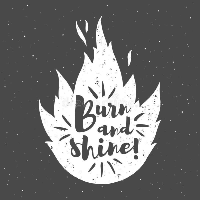 Silhouette du feu de vecteur avec la brûlure et l'éclat de citation de motivation illustration stock
