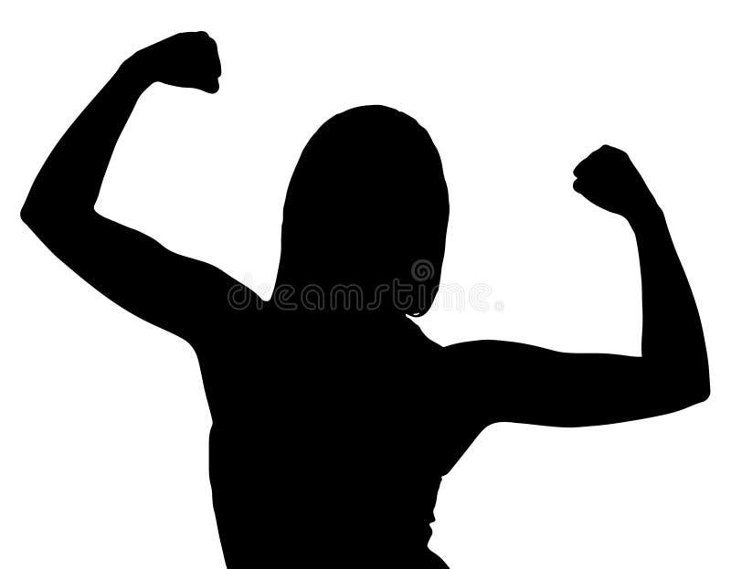 Silhouette du fléchissement femelle de Bodybuilder illustration stock