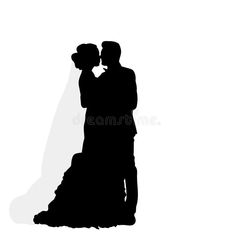 Silhouette du marié étreignant la jeune mariée, épousant illustration stock
