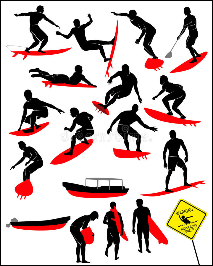 Silhouette du surfer illustration de vecteur