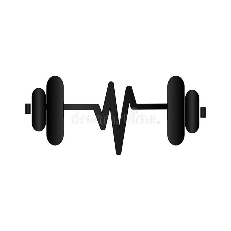 Silhouette Dumbbell With Symbol Life Stock Vector