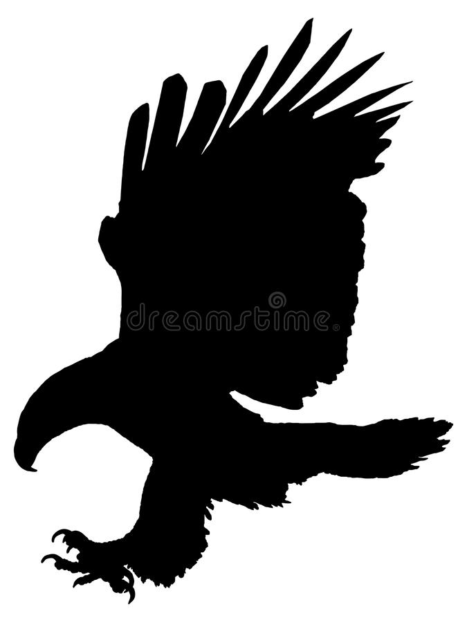 Silhouette of an eagle attacking. stock illustration