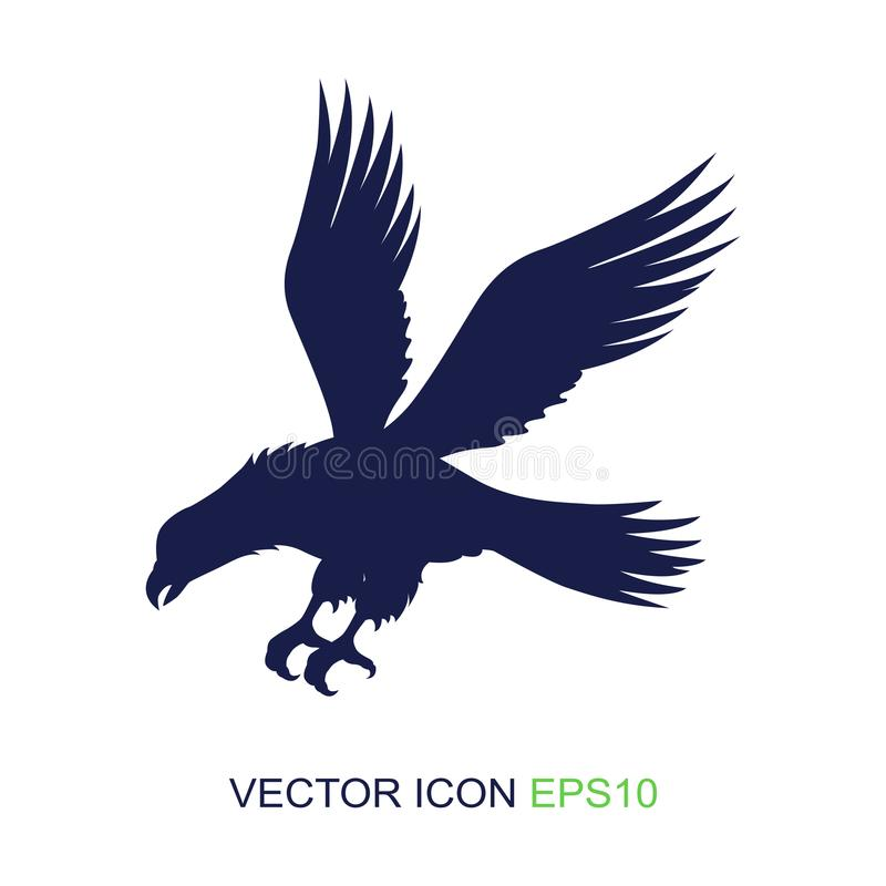 Silhouette of an eagle on a white background. Logo. Side view of an eagle. Vector illustration. Silhouette of an eagle on a white background. Logo. Side view of vector illustration