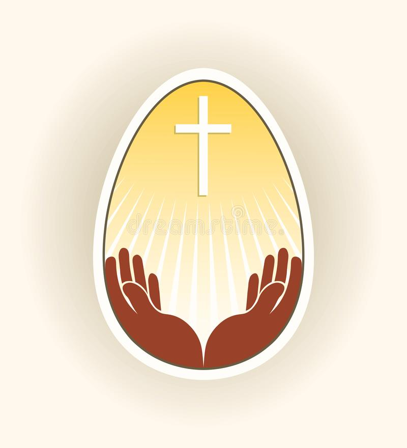 Silhouette of an easter egg with a cross, hands and rays of the sun, stock illustration