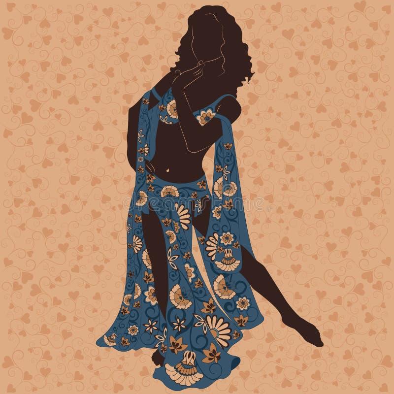 Eastern dancer. Silhouette of an eastern dancer