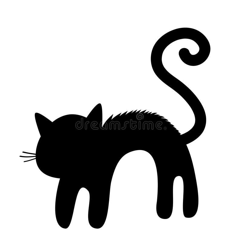 Silhouette effrayée de dos de voûte de chat Chaton criard La fourrure de cheveux se tient sur l'extrémité Queue, favori de mousta illustration libre de droits