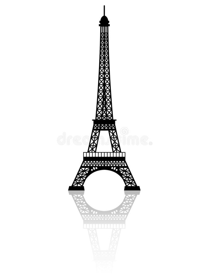 Silhouette of Eiffel Tower with mirror effect vector on white background. Silhouette of Eiffel Tower with mirror effect vector on a white background vector illustration
