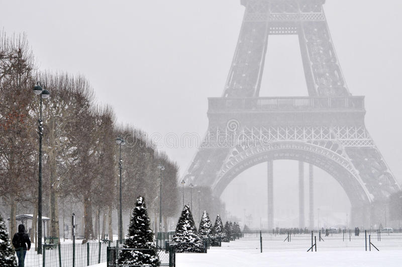 Eiffel Tower in the snow royalty free stock images