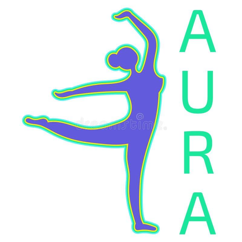 Silhouette eines tanzenden Mädchens mit positiver Aura stock abbildung