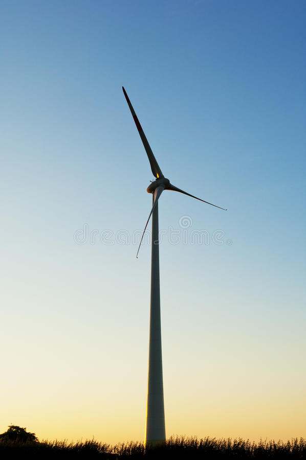 Silhouette Of A Electric Wind Turbines Royalty Free Stock Photos