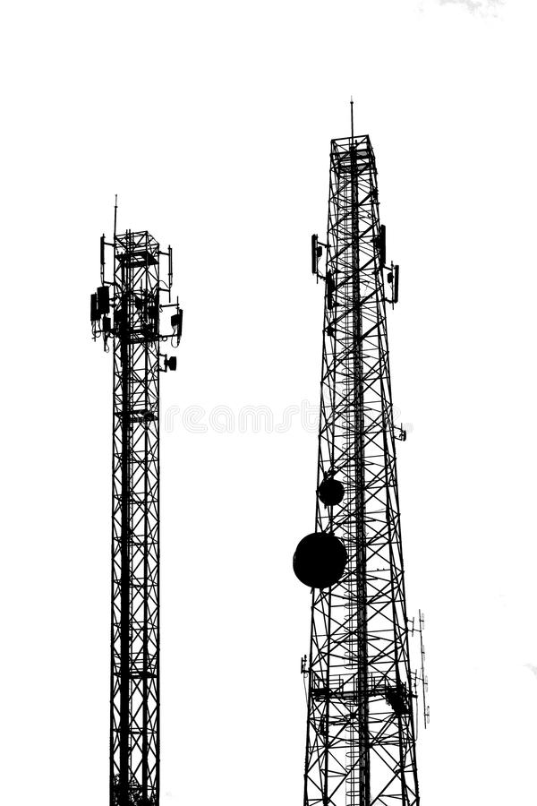 Silhouette electricity pole royalty free stock photos