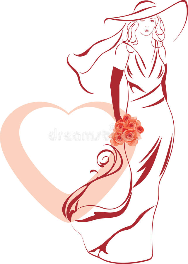 Silhouette Of A Elegant Bride With Bouquet In Hand Stock Photo