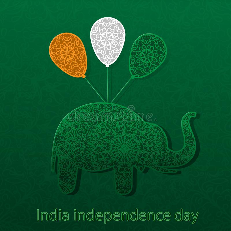 Silhouette of elephant balls the color of the flag of India mandala pattern. Postcard, illustration, ornament, element. Vector stock illustration