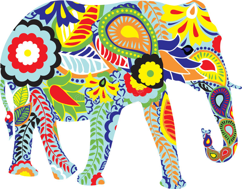 Silhouette of an elephant with Indian designs stock illustration