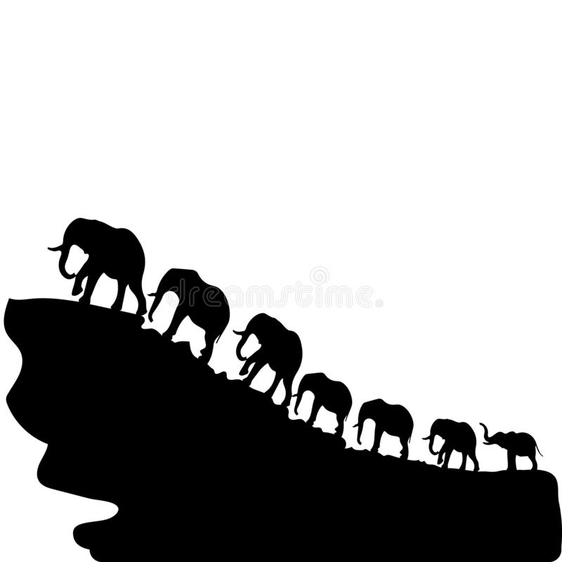 Silhouette of elephants walking up a mountain, a symbol of wealth on a white background, stock illustration