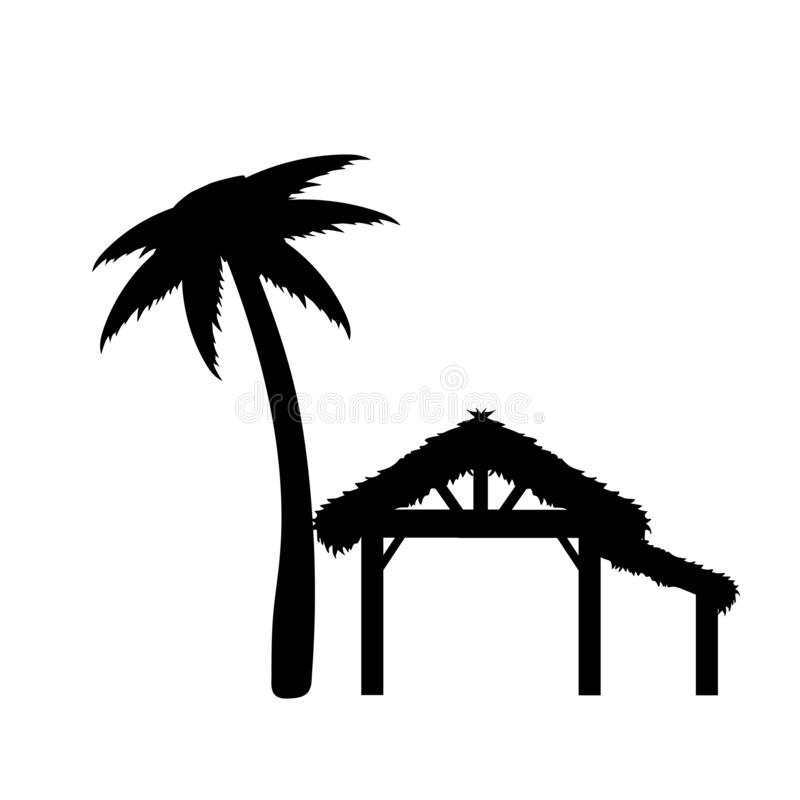 Silhouette empty wood shed where born Jesus. Christmas Nativity vector illustration