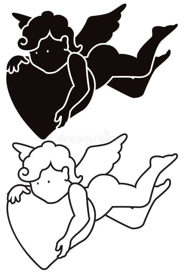 Silhouette et contour d'ange de bande dessinée illustration de vecteur