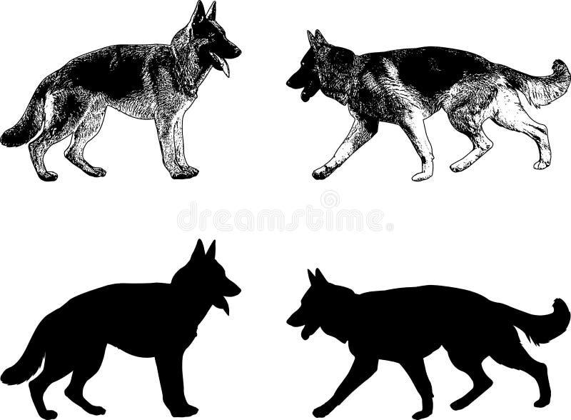 Silhouette et croquis de chien de berger allemand illustration libre de droits