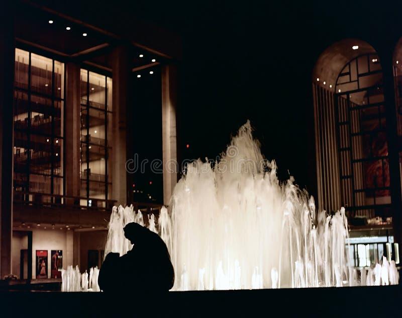 Silhouette et fontaine : Nuit photo libre de droits