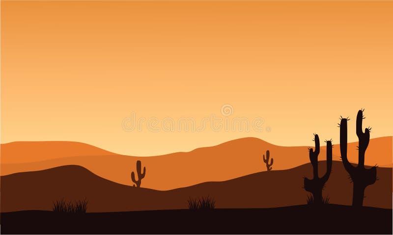 Silhouette et lever de soleil de cactus de désert illustration de vecteur